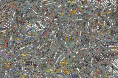 thousands of cars, trucks, buses and other vehicles from above