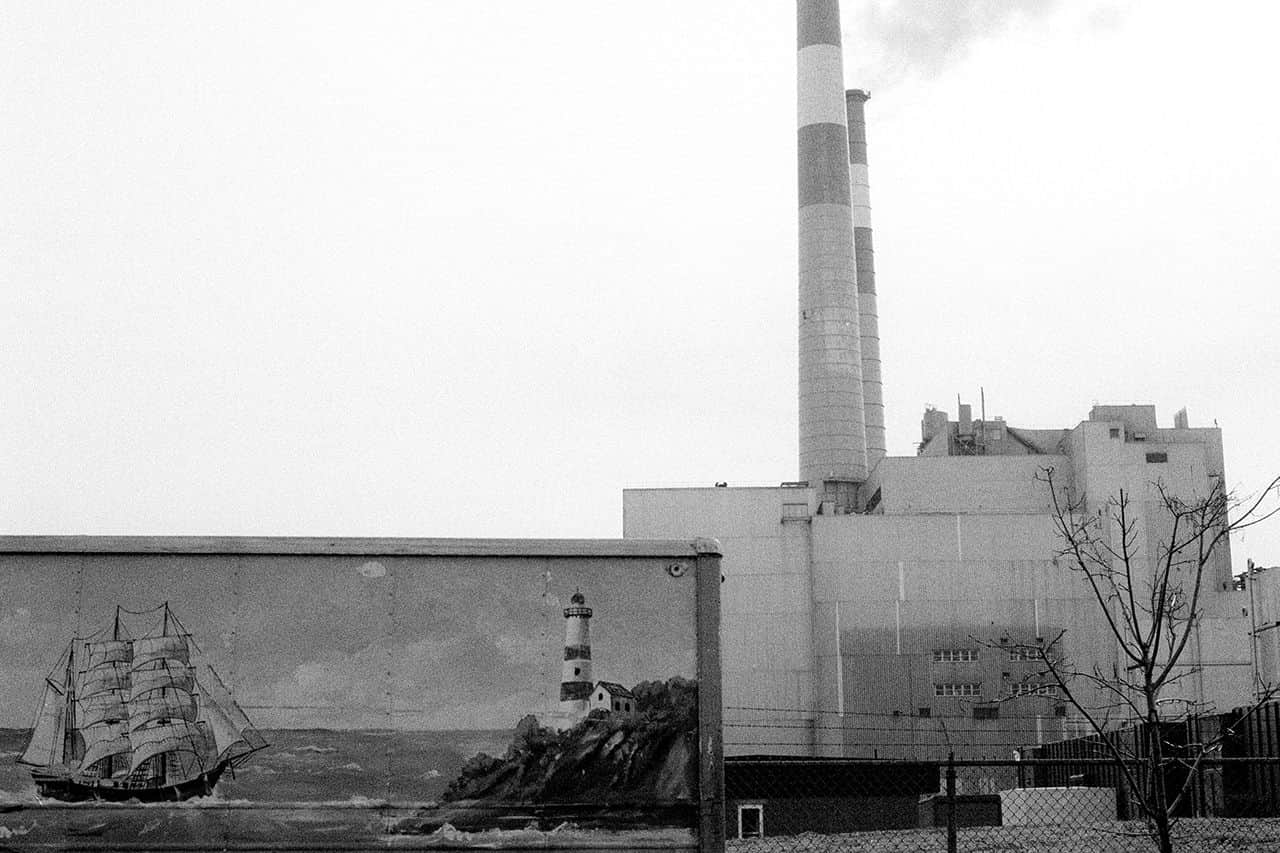 Factory and chimneys at distance